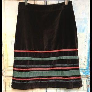 Boden Chocolate Brown Striped Velvet Skirt 4